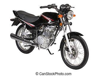 encima, negro, fondo blanco, motocicleta