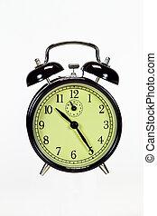 encima, negro, reloj, aislado, alarma, blanco