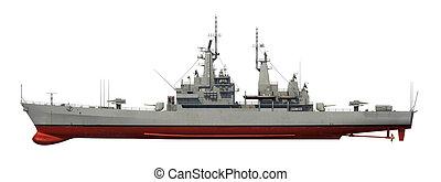 encima, norteamericano, fondo blanco, moderno, buque de guerra