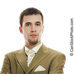 encima, novio, joven, plano de fondo, traje, boda, blanco, guapo