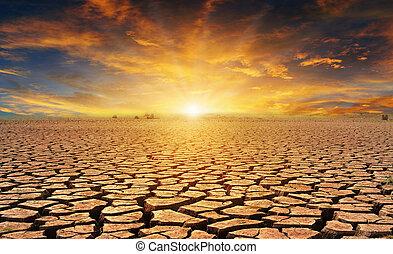 encima, nublado, ocaso, naranja, agrietado, desierto