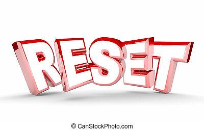 encima, nuevo, reiniciar, principio, palabra, ilustración, restablecer, 3d