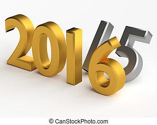 encima, numbers., año, 2015, 2016, 3d