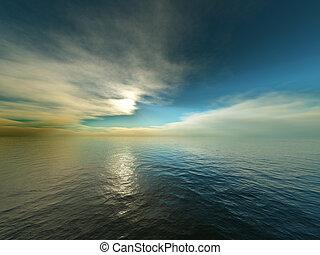 encima, océano de puesta de sol
