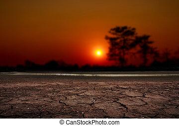 encima, ocaso, agrietado, desierto