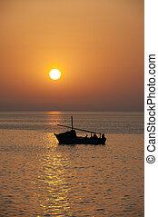 encima, ocaso, barco, Océano
