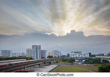 encima, ocaso, estado de cubierta, singapur