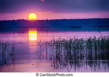 encima, ocaso, kanieris, lago
