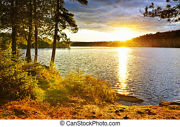 encima, ocaso, lago