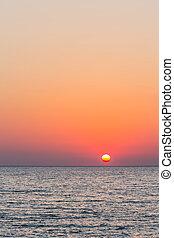 encima, ocaso, mar, colorido