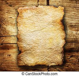 encima, papel, viejo, plano de fondo, de madera, hoja