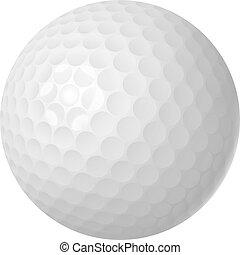 encima, pelota, golf, blanco