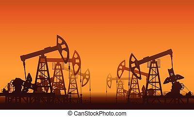 encima, petróleo bombea, sunset.