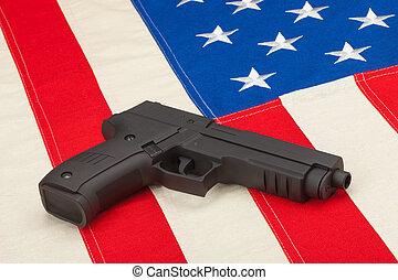 encima, pistola, bandera, estados unidos de américa