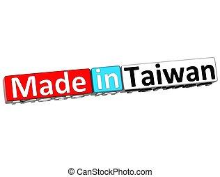 encima, plano de fondo, taiwán, hecho, 3d, blanco