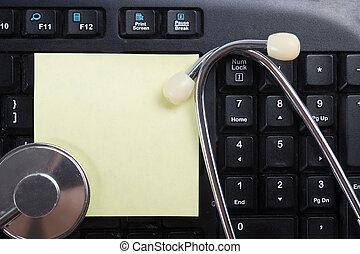 encima, remindmer., -, sistema, computadora, salud, teclado, estetoscopio, revisión de cuentas, o