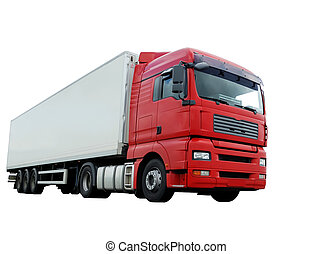 encima, remolque, rojo blanco, camión