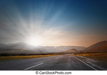 encima, salida del sol, camino