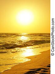 encima, salida del sol, mar