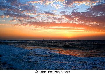 encima, salida del sol, océano