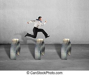 encima, saltar, euro, obstáculos