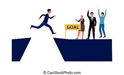 encima, saltos, overcomes, hombre de negocios, abyss., desafío