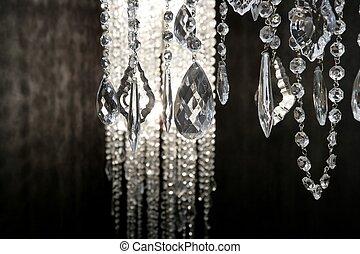 encima, strass, cristal, lámpara, fondo negro, blanco