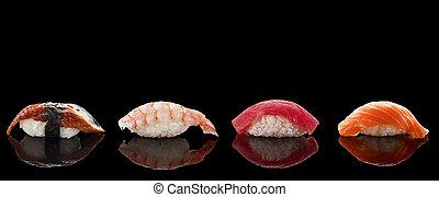 encima, sushi, negro, nigiri, plano de fondo