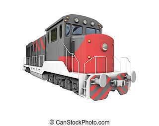 encima, tren, diesel, blanco