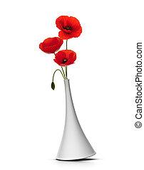 encima, tres, florero, plano de fondo, amapolas, rojo blanco