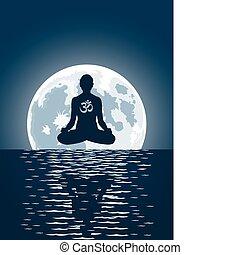 encima, vector, yoga, plano de fondo, luna