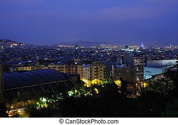 encima, vista, barcelona, noche