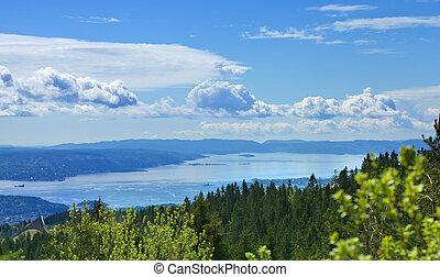 encima, vista, sobre, oslofjord