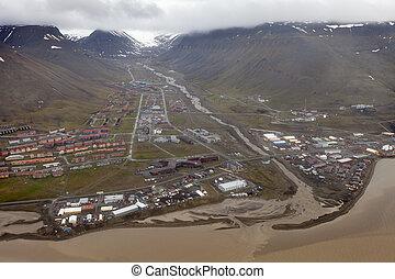 encima, vista, sobre, svalbard, noruega, longyearbyen