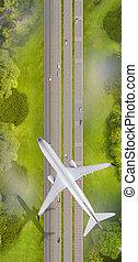 encima, vuelo, caminos, avión, cima, vista