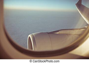 encima, vuelo, nubes