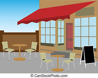 Enclosed cafe courtyard chairs tabl - Angled restaurant...