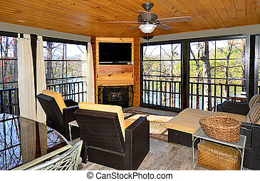 Enclosed Porch on a House