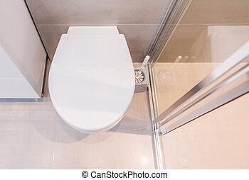 enclosure., verre, blanc, toilette
