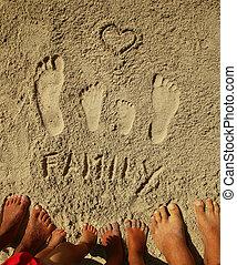 encombrements, sable plage, famille