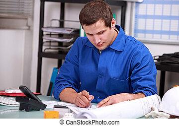 encomendando, trabalhador, partes, manual, escritório