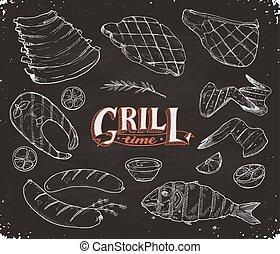 encontre, peixe, grille