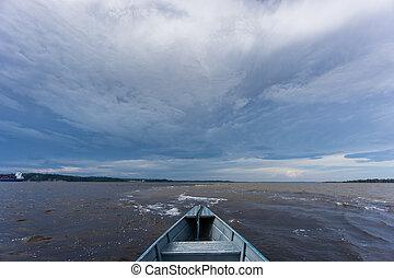 encontro, vand, aguas), das, møde, hen, båd, (portuguese: