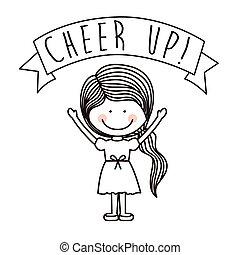 encorajar, crianças, desenho