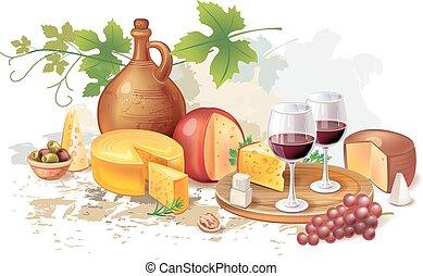 encore, fromage, grap, vin, vie