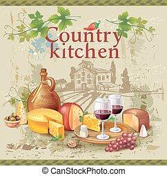 encore, fromage, raisins, vin, vie