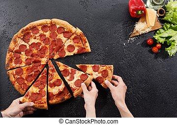 encore, noir, ingredients., space., texture., pizza, vie, fond, mains, pepperoni, copie