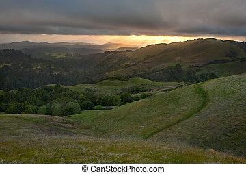 encosta, primavera, ocaso california