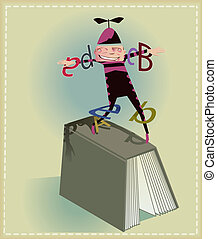 Encourage reading - Buffoon making juggling with book´s...