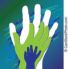 encouragement., apoyo, padre, mano, niño, moral.